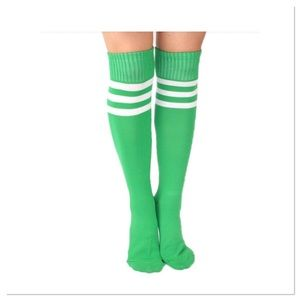 Green Knee-hi Sports Socks